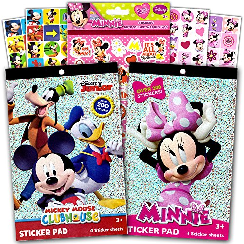 Stickers Kids Character - Disney Mickey Mouse Sticker Pad and Minnie Mouse Sticker Pad Set (Over 400 Stickers total!)