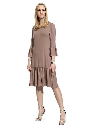 Damen Glockenkleid Kleid Elegant Langarm Mittellang Abendkleid Gr S M L XL