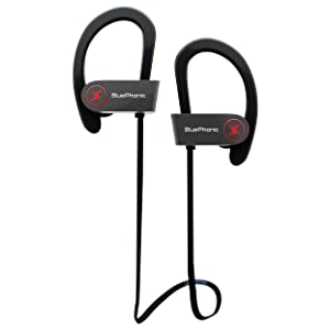 Wireless Sport Bluetooth Headphones - Hd Beats Sound Quality - Sweat Proof Stable Fit In Ear Workout Earbuds - Ergonomic Running Earphones - Noise Cancelling Microphone w/ Travel Case - by Bluephonic