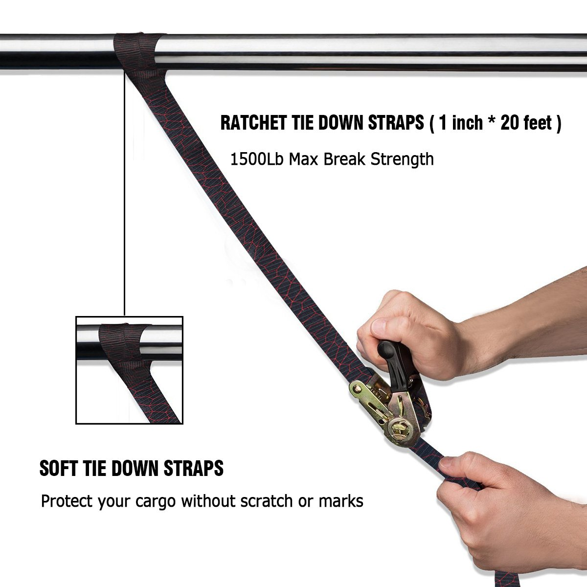 Audew 4 x Ratchet Tie-Down Straps 25mm x 6M Heavy Duty Ratchet Strap Endless Loop Lashing Straps Webbing Strap Cargo Tie-Downs for Cam Buckles Luggage Trailer Household Goods Car