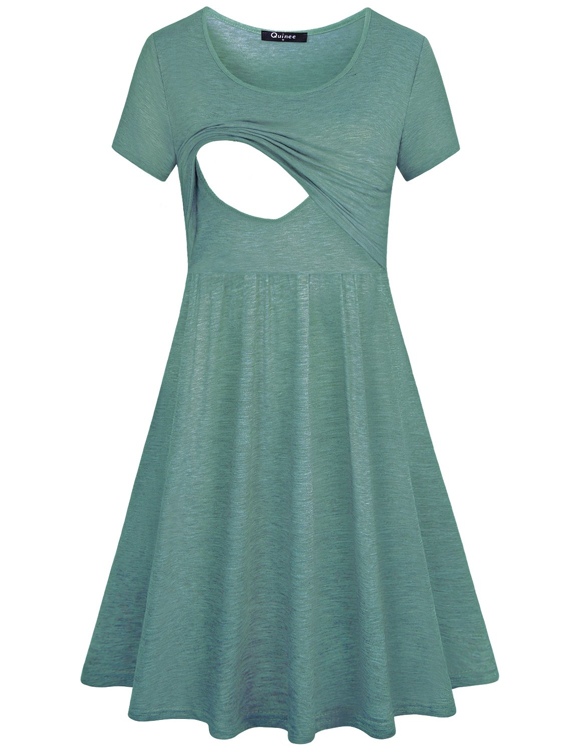 Quinee Maternity Nursing Dress, Short Sleeve Double Layers Nicely Wearing with Leggings Stylish Lersure Style Function Top Good Choice for Pregnant Women Grey-Green M