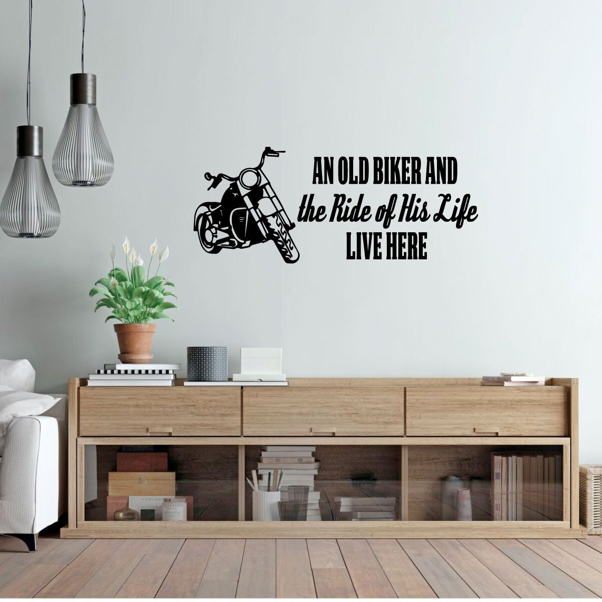 Biker Grandpa Gifts Vinyl Decal Home Decor Custom Vinyl Decor an Old Biker and The Ride of His Life with Motorcycle Image