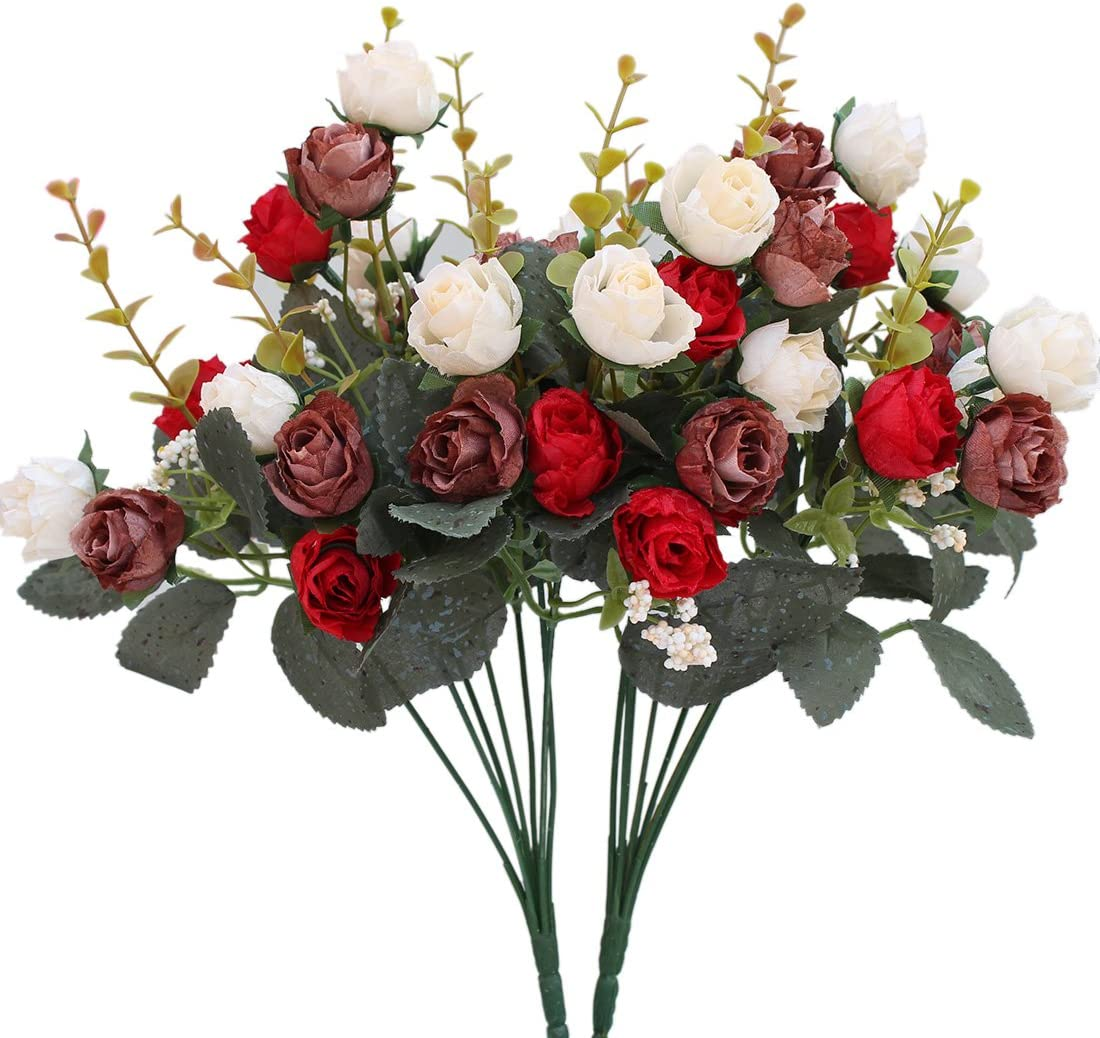 Luyue 7 Branch 21 Heads Artificial Silk Fake Flowers Leaf Rose Wedding Floral Decor Bouquet,Pack of 2 (Red coffee)