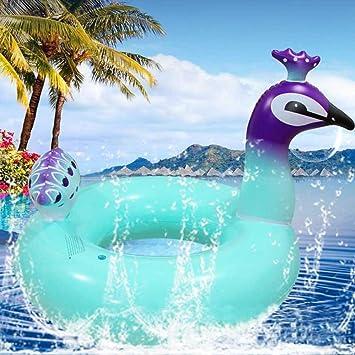 Hunpta@ Anillo de Natación Hinchable Azul con Pavo Real para Piscina, Río, Playa, Raft, Tubo Flotante, 120CM: Amazon.es: Deportes y aire libre