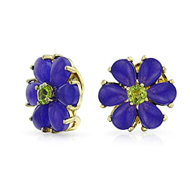 ee5084a89b5 Image Unavailable. Image not available for. Color: Purple Dyed Jade Flower  Green CZ Button Style Clip On Earrings Non Pierced Ears 14K Gold
