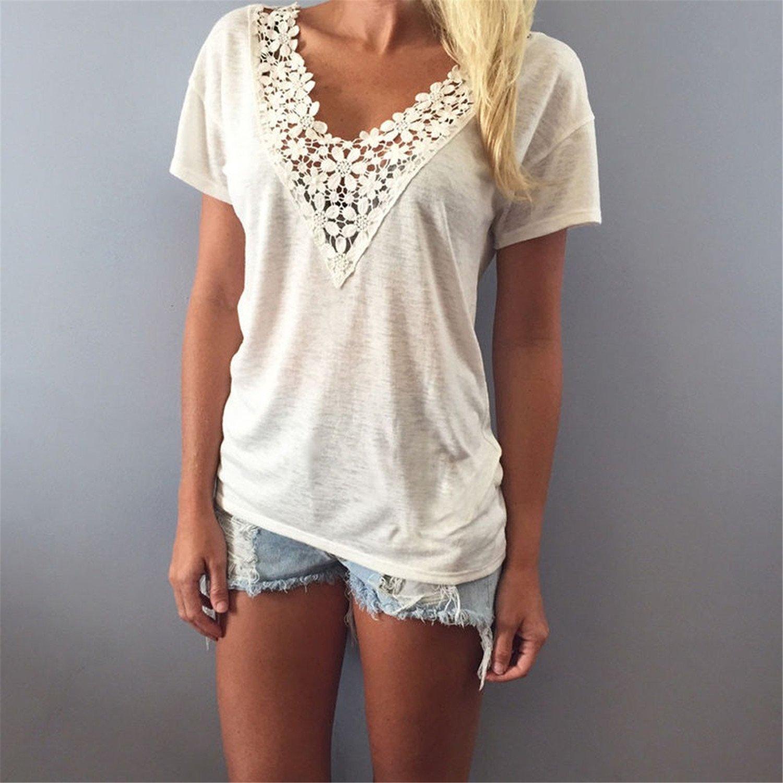 Amazon.com: spyman Summer Women Blouse Short Sleeve Tops Shirt Sexy Lace V Neck Blouse Shirt Female Blusas Plus Size Clothing: Clothing