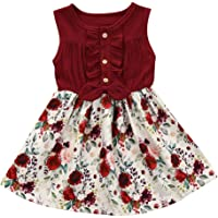 Toddler Baby Girls Princess Summer Clothes Flower Patchwork Bowknot Dresses Ruffled Tutu Skirts Party Sundress