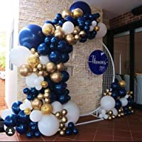 Navy Blue Gold White Balloon Arch Garland Kit-134pcs, 4 Size Navy Blue, White, Metallic Chrome Gold And Confetti…