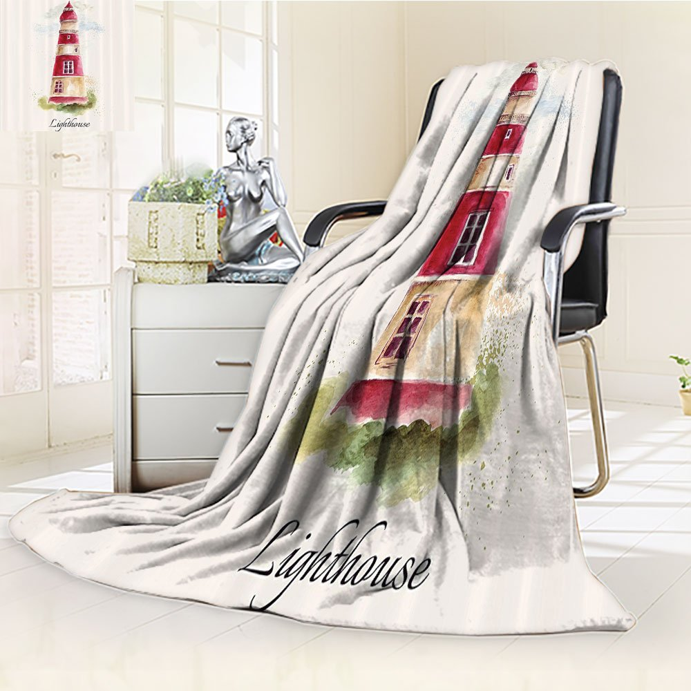 Lighthouse Custom Blanket by Nalohomeqq Watercolor Lighthouse Print Pastel Faded Vintage Cursive Lettering Windows Grass Clouds Accessories Extralong Multi