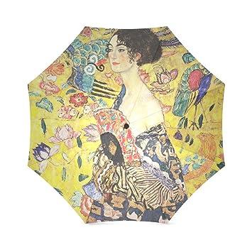 Los amantes de los/esposa/marido Regalos Gustav Klimt dama con un ventilador 100% tela y aluminio plegable paraguas de alta calidad: Amazon.es: Deportes y ...