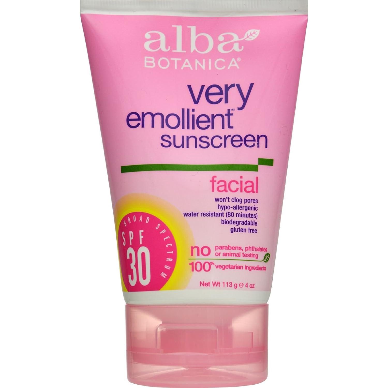 Alba Botanica Very Emollient Facial Sunscreen SPF 30 4 oz