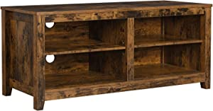 VASAGLE TV Stand, TV Cabinet with Open Shelves, Cable Holes, for DVDs, Games, Consoles, Remotes, in The Living Room, Rustic Brown ULTC004B01