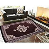 SHOPICTED Ethnic Velvet Touch Abstract Chenille Carpet - 5 X 7 Ft, Coffee