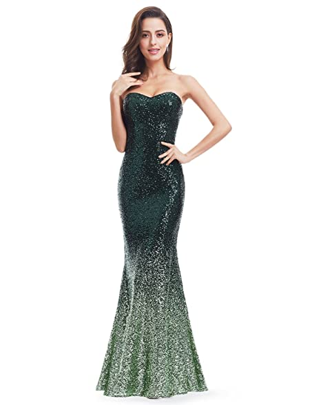 Ever Pretty Strapless Sweetheart Neckline Sparkling Gradual Sequin Mermaid Evening Dress Prom Dress 18UK Dark Green