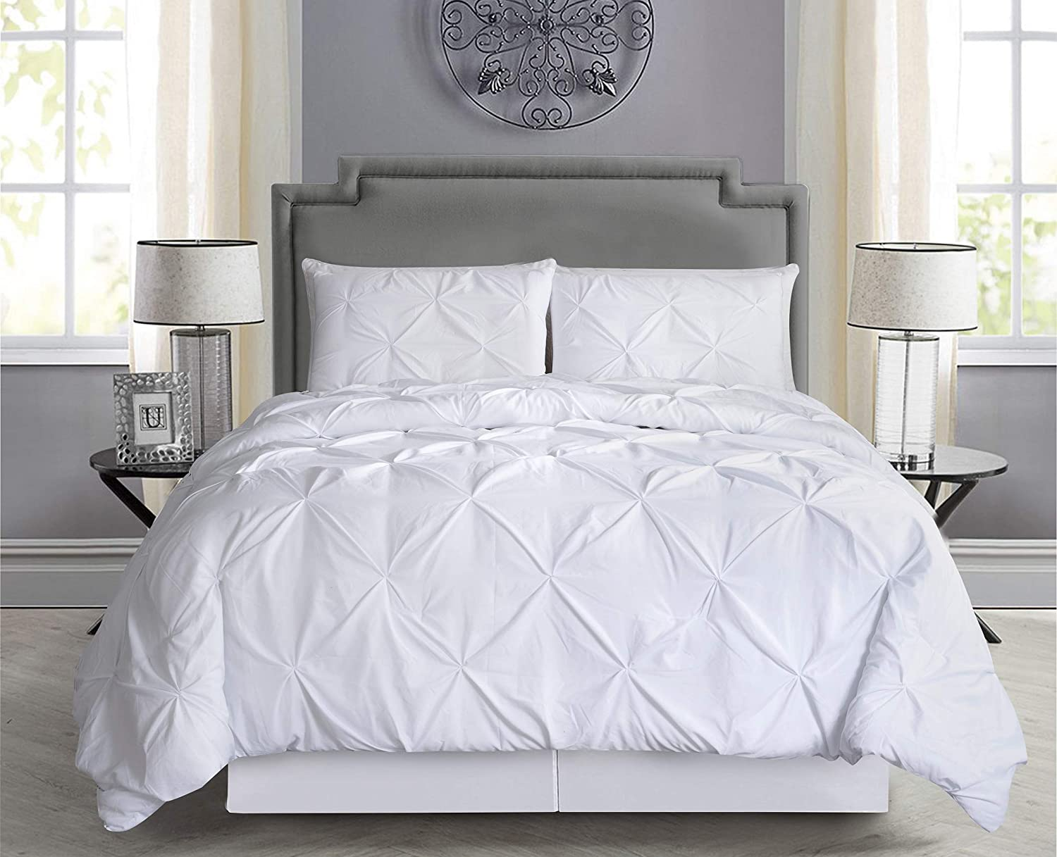 Empire Home Pintuck Hypoallergenic 8-Piece Bed in A Bag Comforter Set - Sheet Set Included!! (White, Queen)