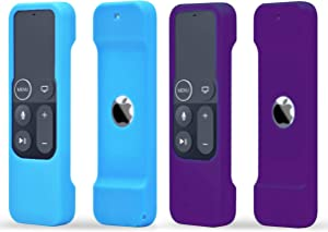 TOKERSE 2 Pack Silicone Case Compatible with Apple TV 4K 4th 5th Generation Siri Remote - Shock Proof Remote Cover Case Compatible with Apple TV 4K 4th 5th Gen Siri Remote Controller - Blue Purple