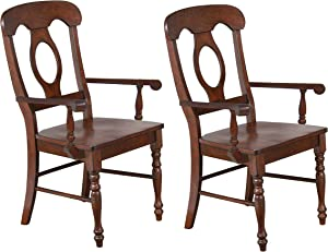 Sunset Trading Andrews Arm Chair, Set of 2, Distressed Chestnut