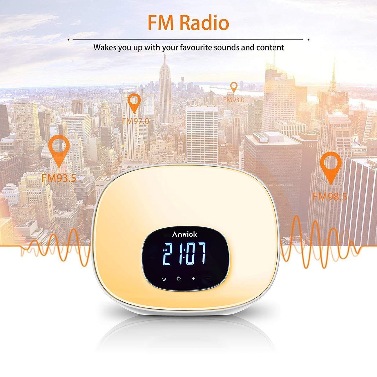 Geschenk FM Radio Snooze Funktion Anwick Wake Up Light Lichtwecker Ideal f/ür Haus 8 Alarmt/öne 10 Farben LED Lichtwecker mit Sonnenaufgang Simulation