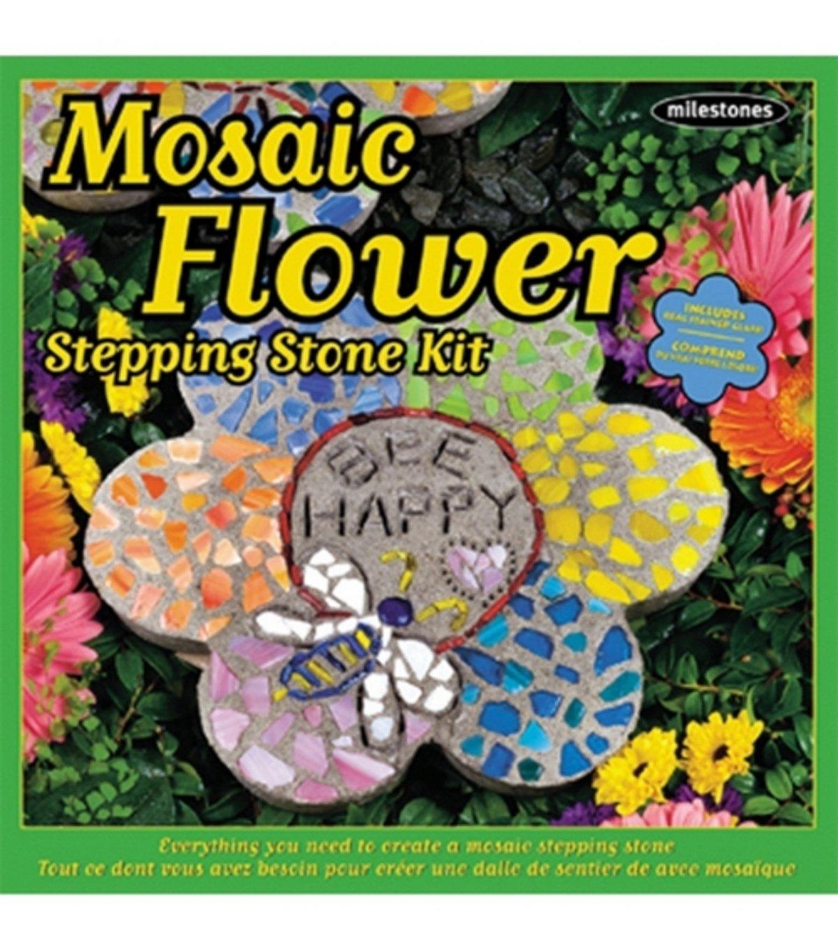 Mosaic Garden Stepping Stones Amazon milestones stepping stone kit 12 in mosaic flower toys amazon milestones stepping stone kit 12 in mosaic flower toys games workwithnaturefo