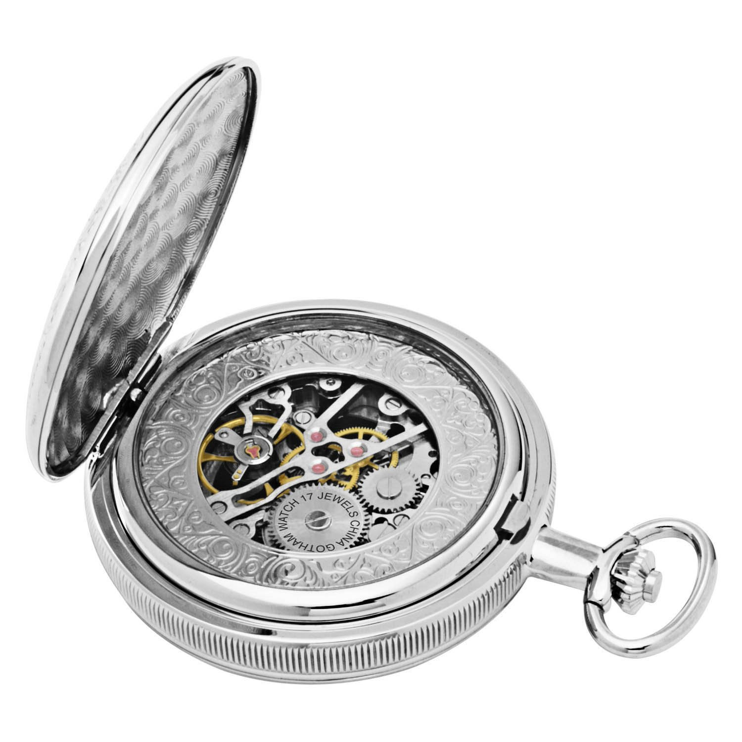 Gotham Men's Silver-Tone Mechanical Pocket Watch with Desktop Stand # GWC14051S-ST by Gotham (Image #6)