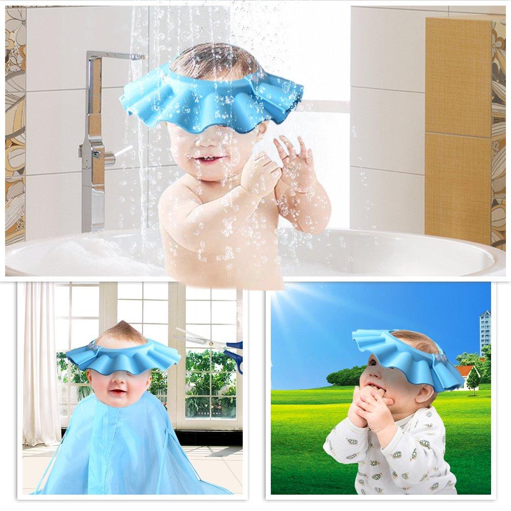 bambini bambini HOOYEE Safe shampoo Shower Bathing Bath Cap morbido regolabile visiera cappello per bambino bambino