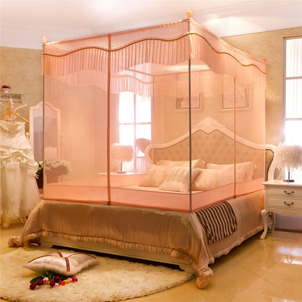 DE&QW Four Corner Zippered Mosquito Net,Net Yarnt Encryption Court Bed Canopy-D Queen2