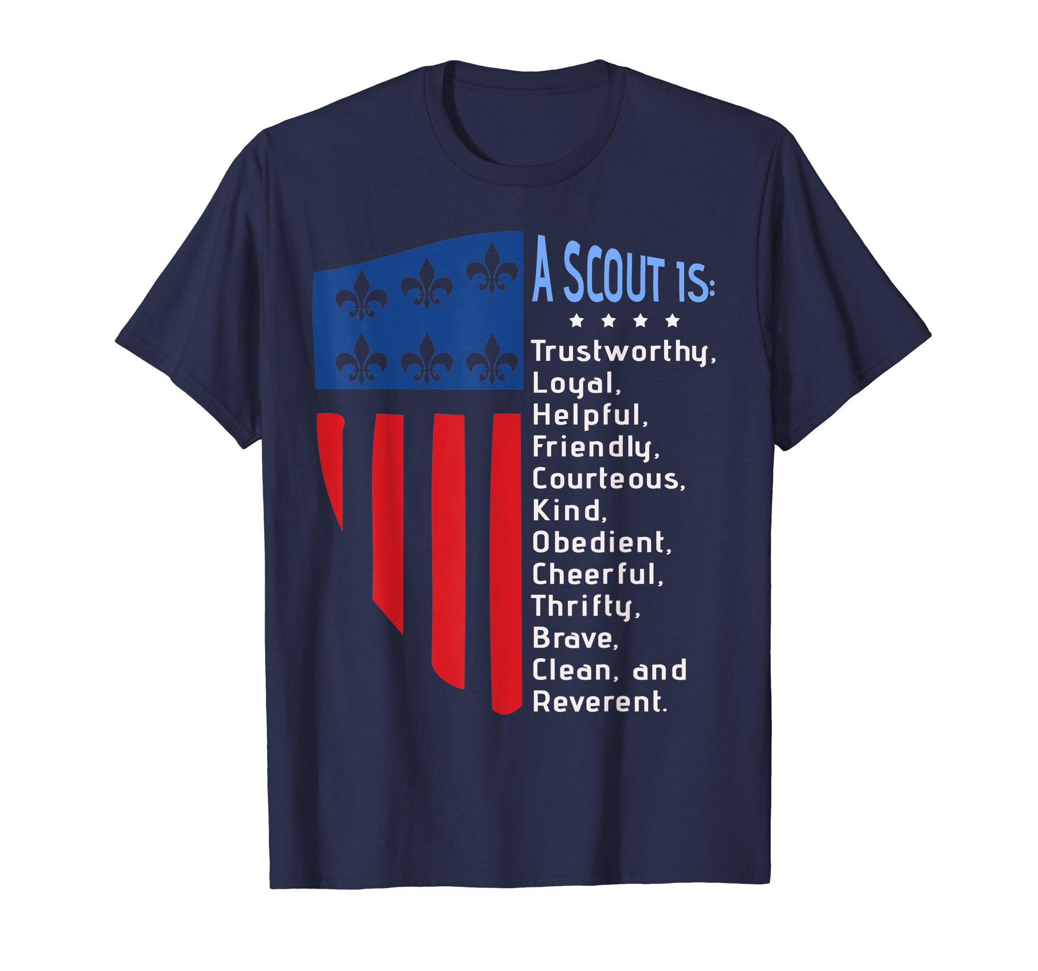 Scout Law , US America Flag Scouting law Gift T-Shirt by Cub Camping Hiking Scouting Gifts