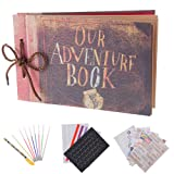 Our Adventure Book Pixar Up Handmade DIY Family Scrapbook Photo Album Expandable 11.6x7.5 Inches 80 Pages with Photo Album Storage Box DIY Accessories Kit (Color: Our Adventure)