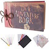 """RECUTMS Album per foto per scrapbooking """"Our adventure book"""", espandibile, 29,46 x 19,05 cm, 80 pagine, con contenitore e kit di accessori fai da te"""