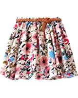 Wildestdream Womens Chiffon Pleated Mini Skirt Girls Floral Skater Skirt