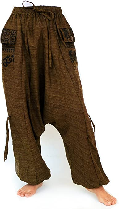 SHC Pantalones Harem para Hombre y Mujer algodón - Longitud ...