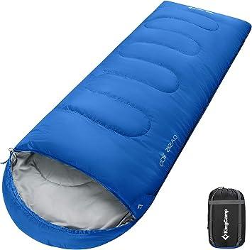 KingCamp Saco de Dormir Ultraligero Rectangular Grande Individual para Adultos Camping Montaña Portátil Bolsa de Compresión Verano: Amazon.es: Deportes y aire libre
