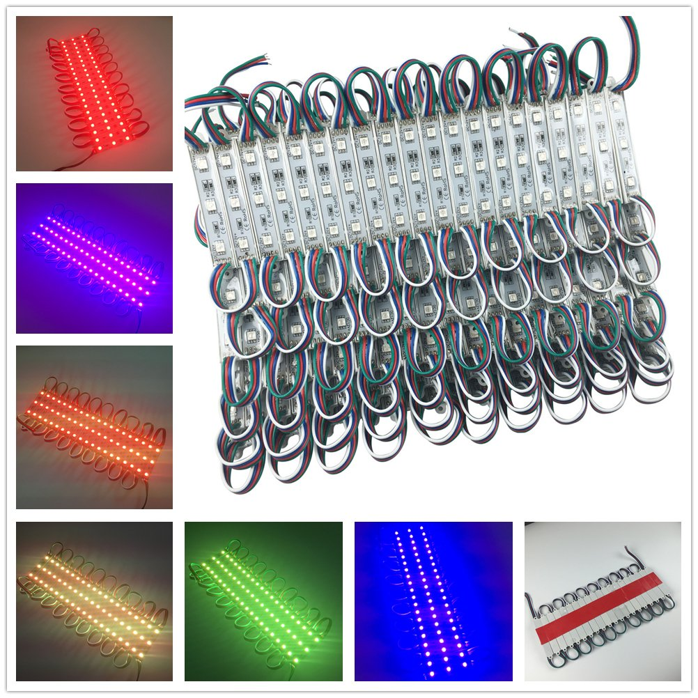 colorfulpearl 1000pcs 3LED 5050 RGB SMD LED Module Waterproof IP65 High Brightness Advertising Lamp DC12V