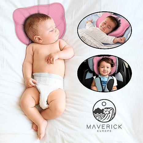 Maverick - Almohada para bebé que previene la plagiocefalia 100% algodón. Cojín para cuna con dos fundas y bolsa incluidas, lavable, almohada para ...