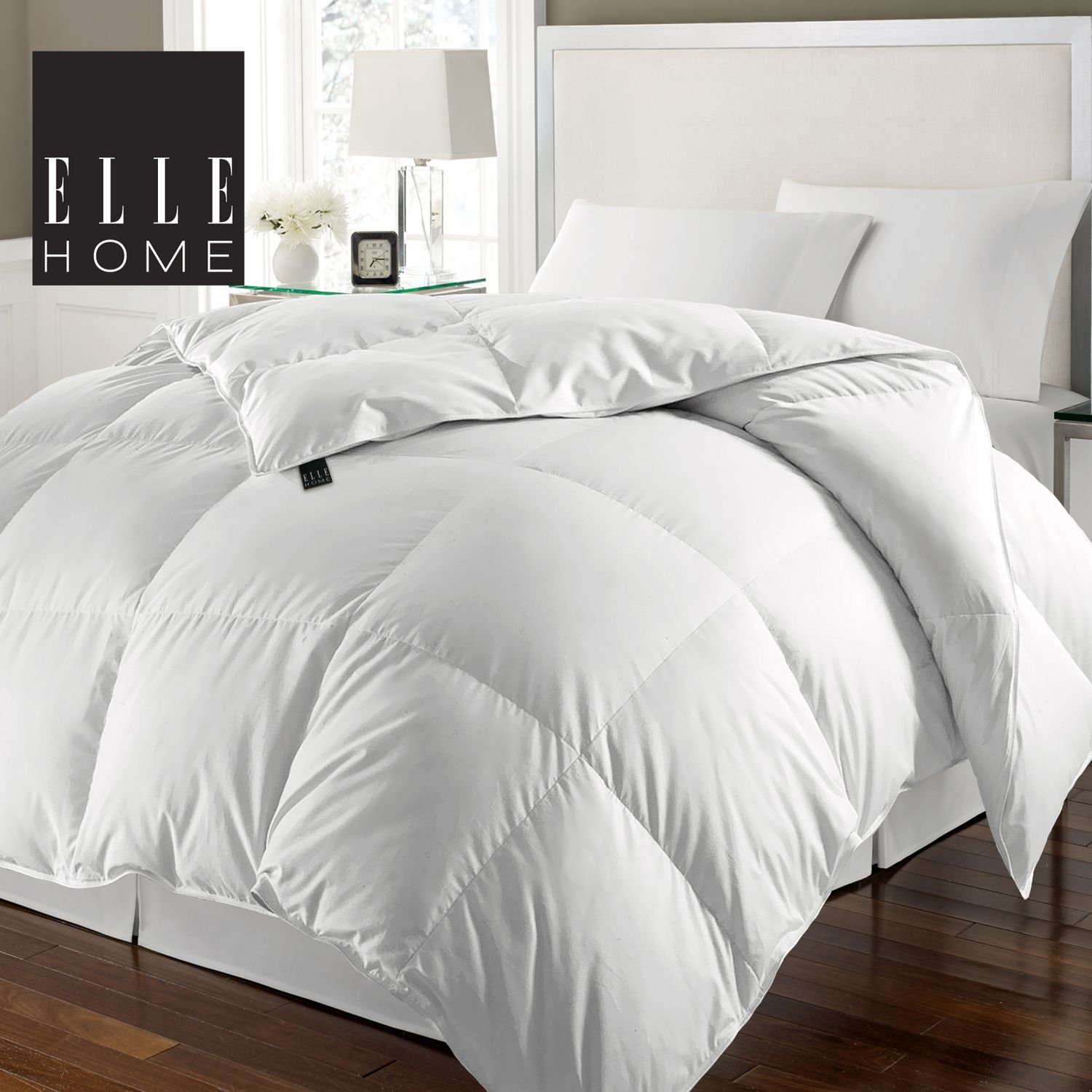 ELLE HOME 240 Thread Count 100% Cotton Solid Cover White Goose Feather and Goose Down Comforter King 104 x 88