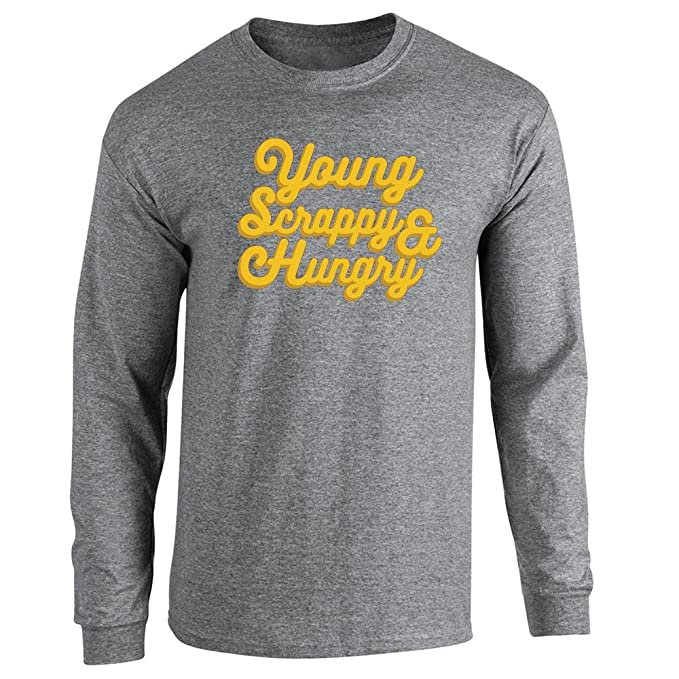 Pop Threads Young Scrappy & Hungry Long Sleeve T-Shirt by: Amazon.co.uk:  Clothing