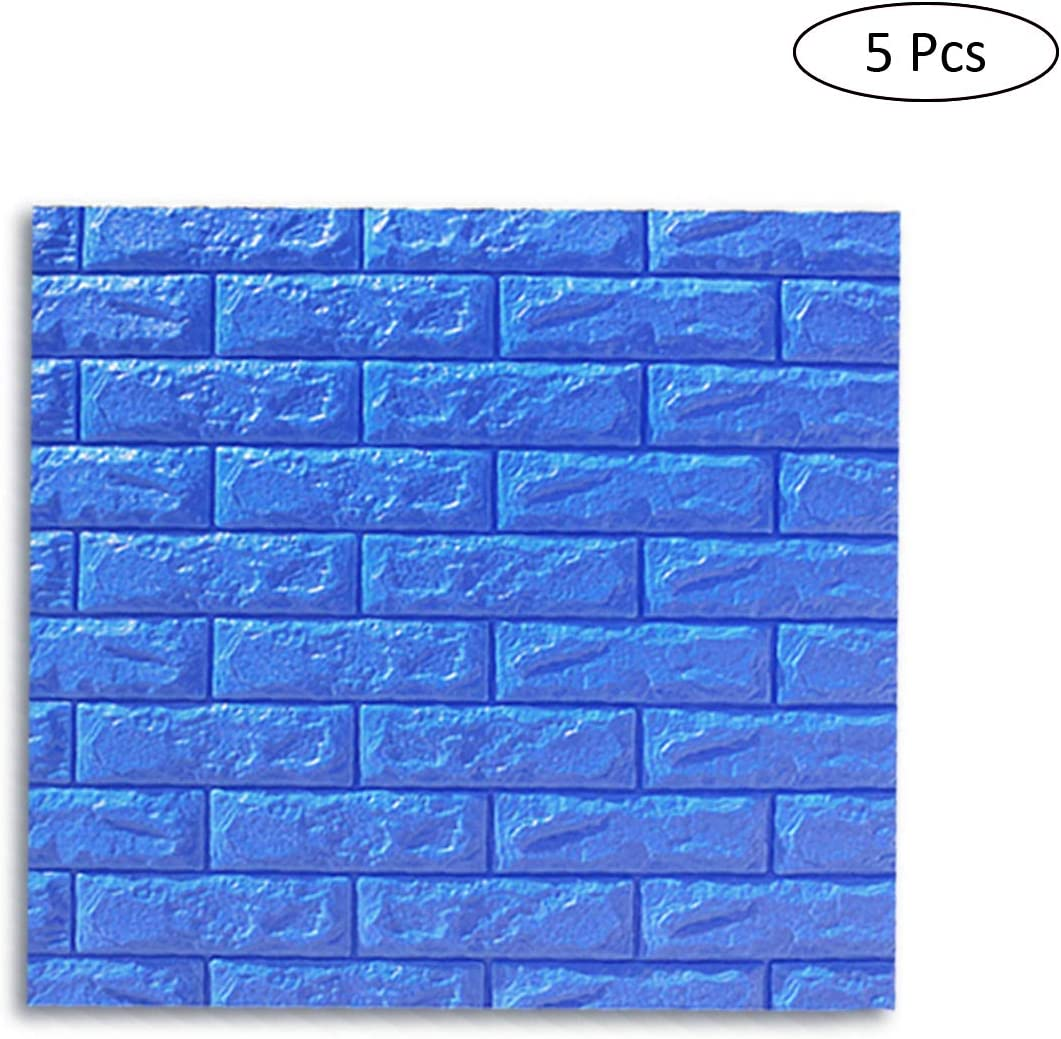 Pink 30.3x27.6 inch Waterproof XPE Foam 3D Brick Easy Self-Adhesive for Interior Wall Decoration Brick Design Soft Panels 5-Pack 3D Wall Panels Wall Stickers,