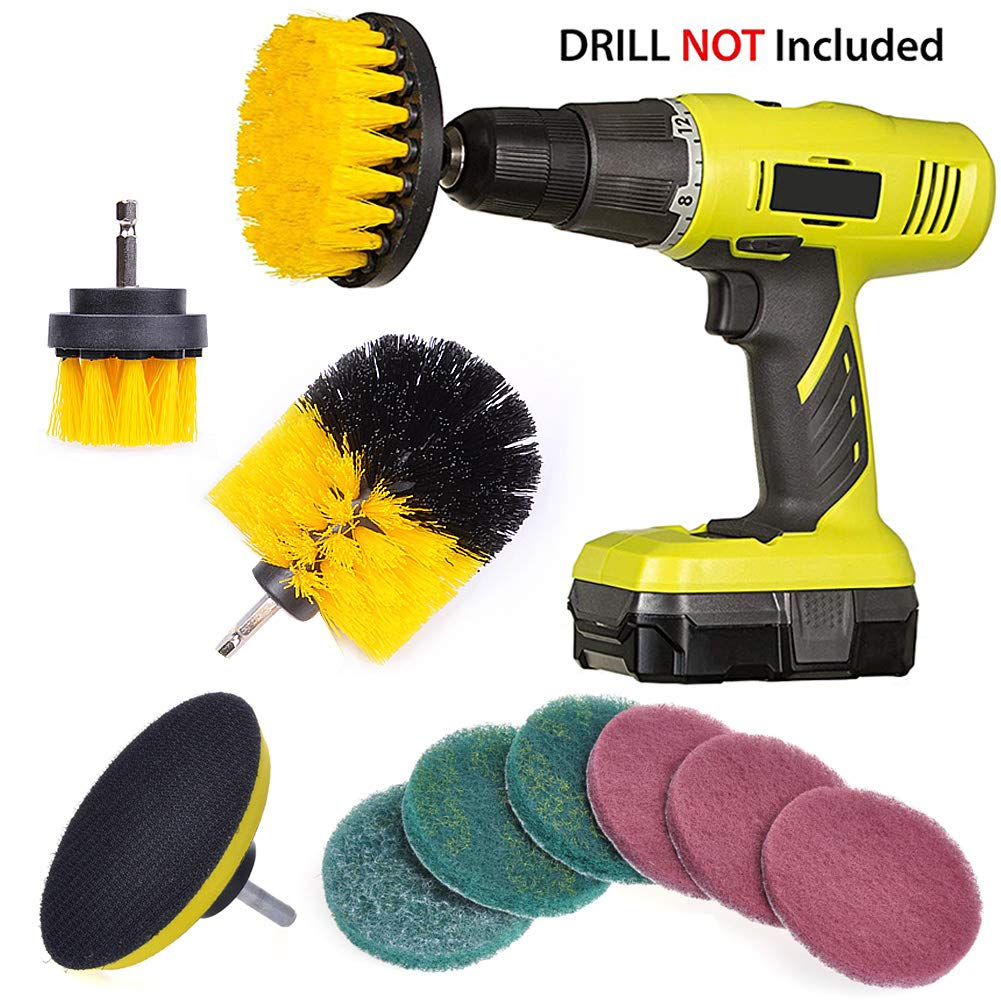 QUIENKITCH Drill Brush Set/10PCS - Scrub Brush Drill Attachment Kit - Medium Stiffness Clean Scrubbing Brushes for Grout, Tiles, Sinks, Bathtub, Bathroom, Shower & Kitchen Surface