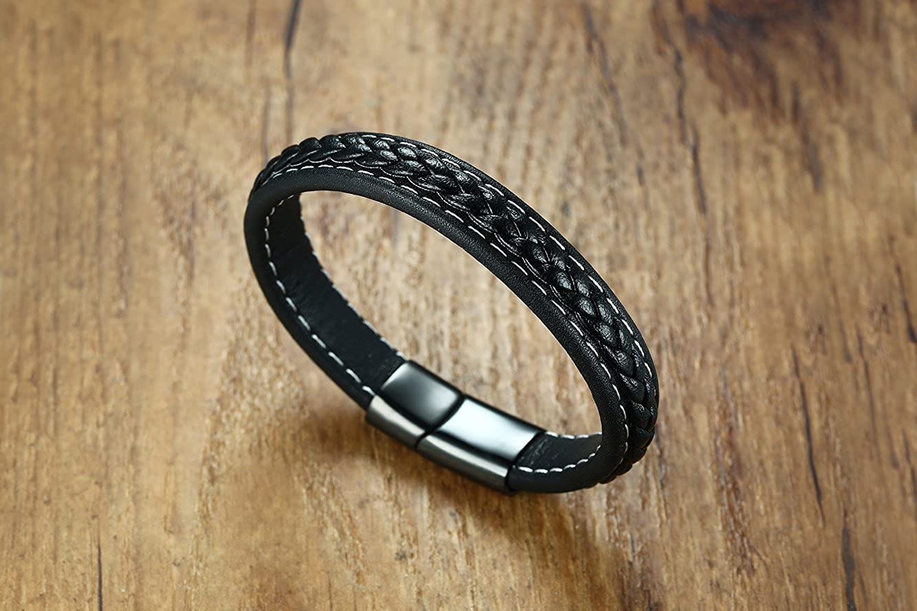 VNOX Genuine Leather Braided Ankh Cross Eye of Horus Stainless Steel Magnetic Clasp Cuff Band Bracelet