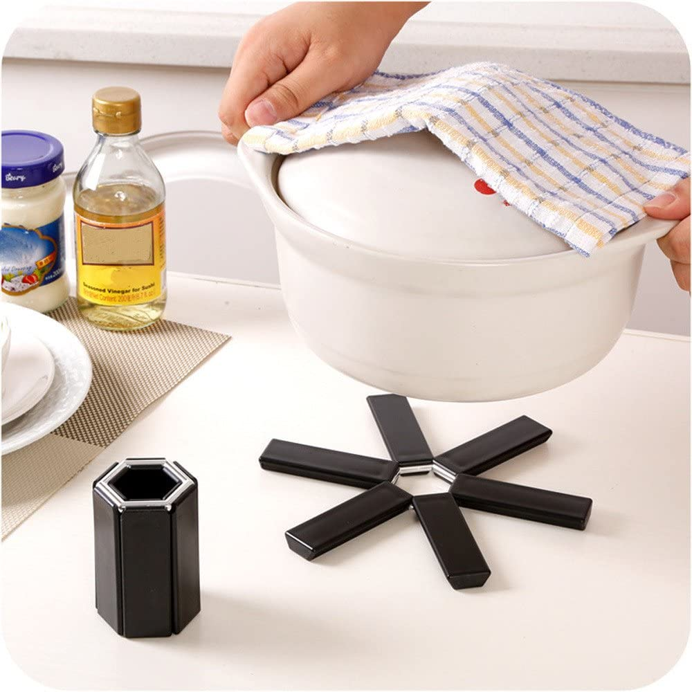 Kitchen,Dining /& Bar Sales jieGorge Black Foldable Non-slip Heat Resistant Pad Trivet Pan Pot Holder Mat Kitchen Black