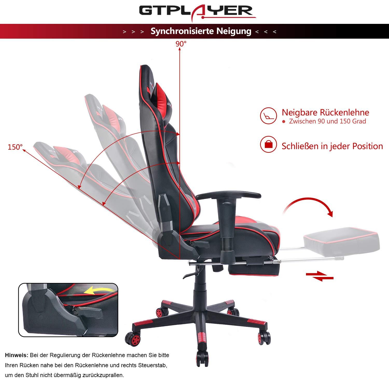 GTPLAYER Gaming Stuhl Racing Stuhl Kunstleder Bürostuhl Bürostuhl Bürostuhl höhenverstellbarer Schreibtischstuhl Ergonomisches Design mit Fußstütze und Wippfunktion(Rot) 00bbe6