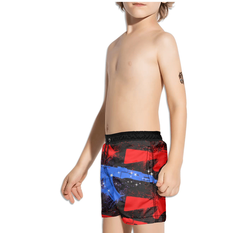 Ouxioaz Boys Swim Trunk American Flag Guns Beach Board Shorts