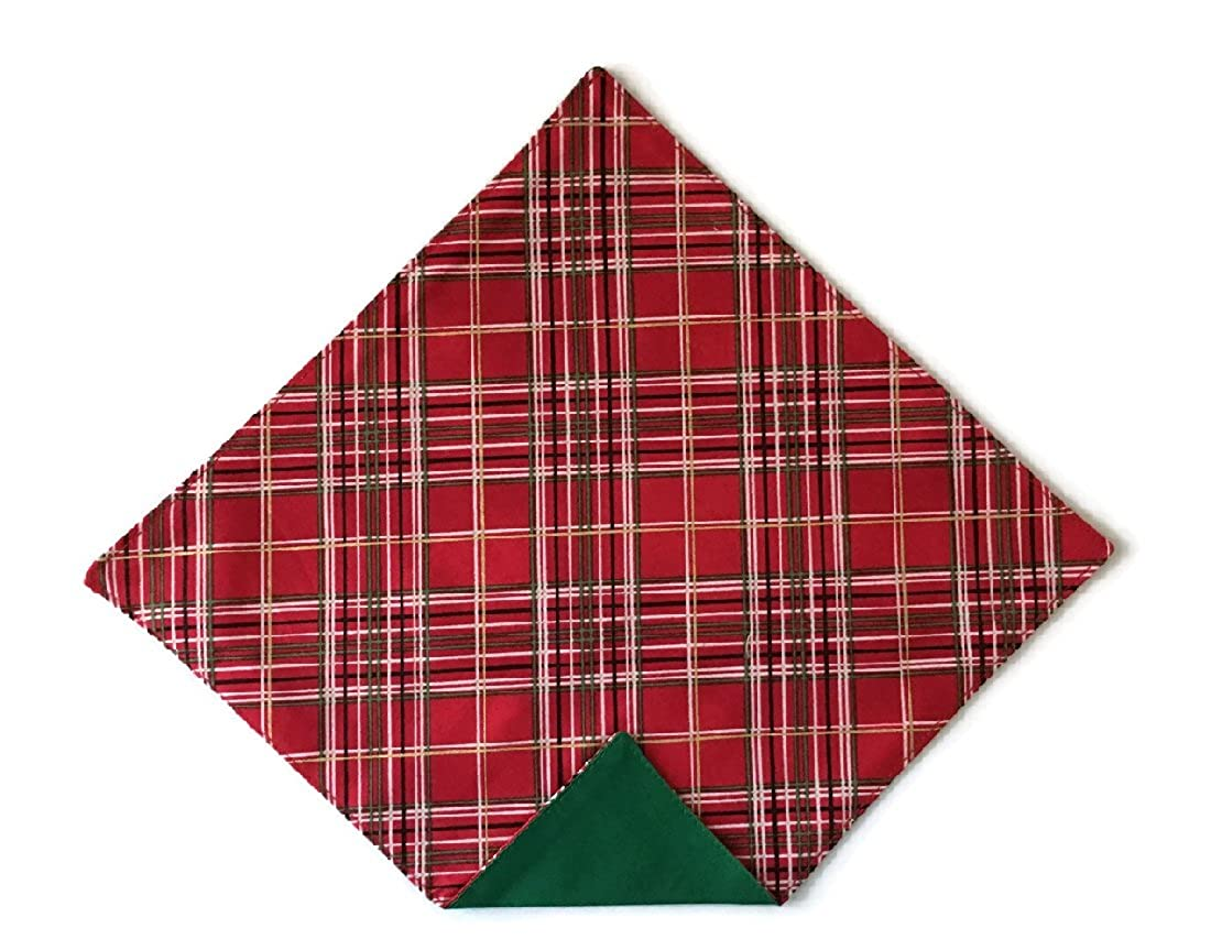 Men/'s Pocket Square Holiday Red Plaid with Gold Metallic