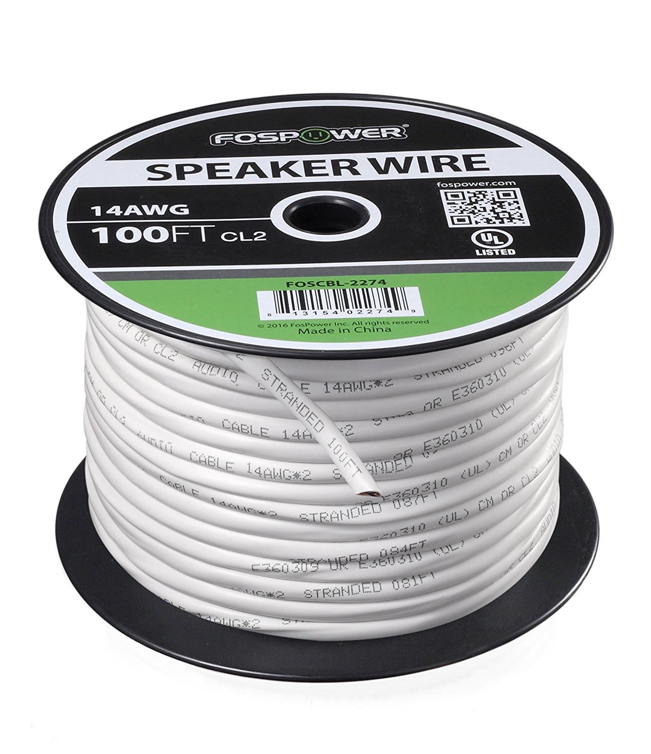 Amazon.com: FosPower 14 Gauge Speaker Wire 100FT, CL2 Rated 14AWG 2 ...