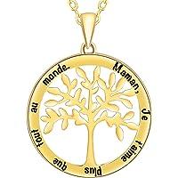 SIMPORDS Collier Femme Gravé en Plaqué Or Pendentif Cercle Bracelet Cadeau pour Maman Grand-Mère Fille ou Sœur