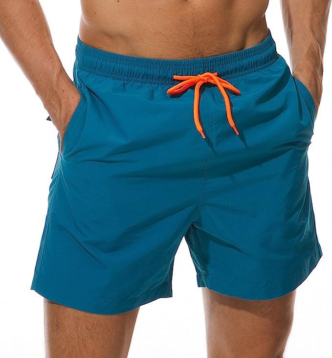 blue swim trunk with orange drawstring