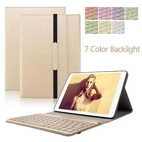 DINGRICH Funda Teclado Tablet Tab A 10.1, Teclado Inalámbrico Bluetooth Iluminación para Tab A 10.1