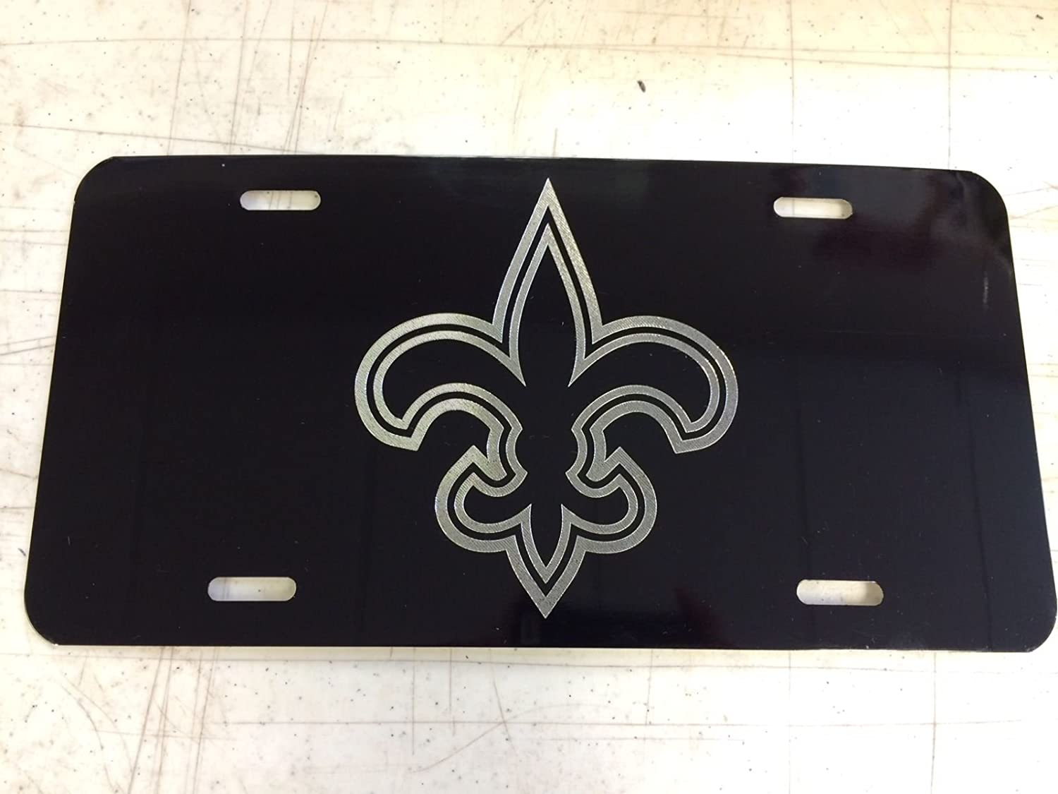 2448f09db45 Amazon.com  Hammett Holdings New Orleans Saints Car Tag Diamond Etched on  Aluminum License Plate  Automotive