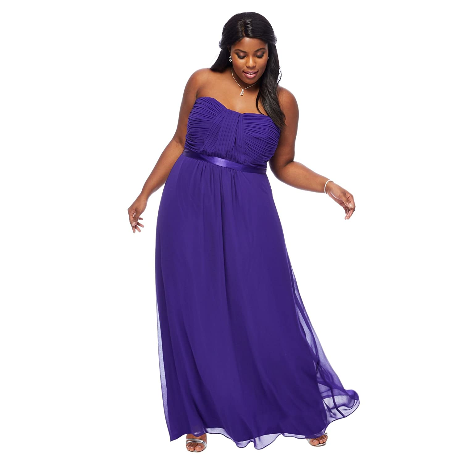 Debut Womens Purple \'Sophia\' Bandeau Plus Size Bridesmaid Dress 20 ...