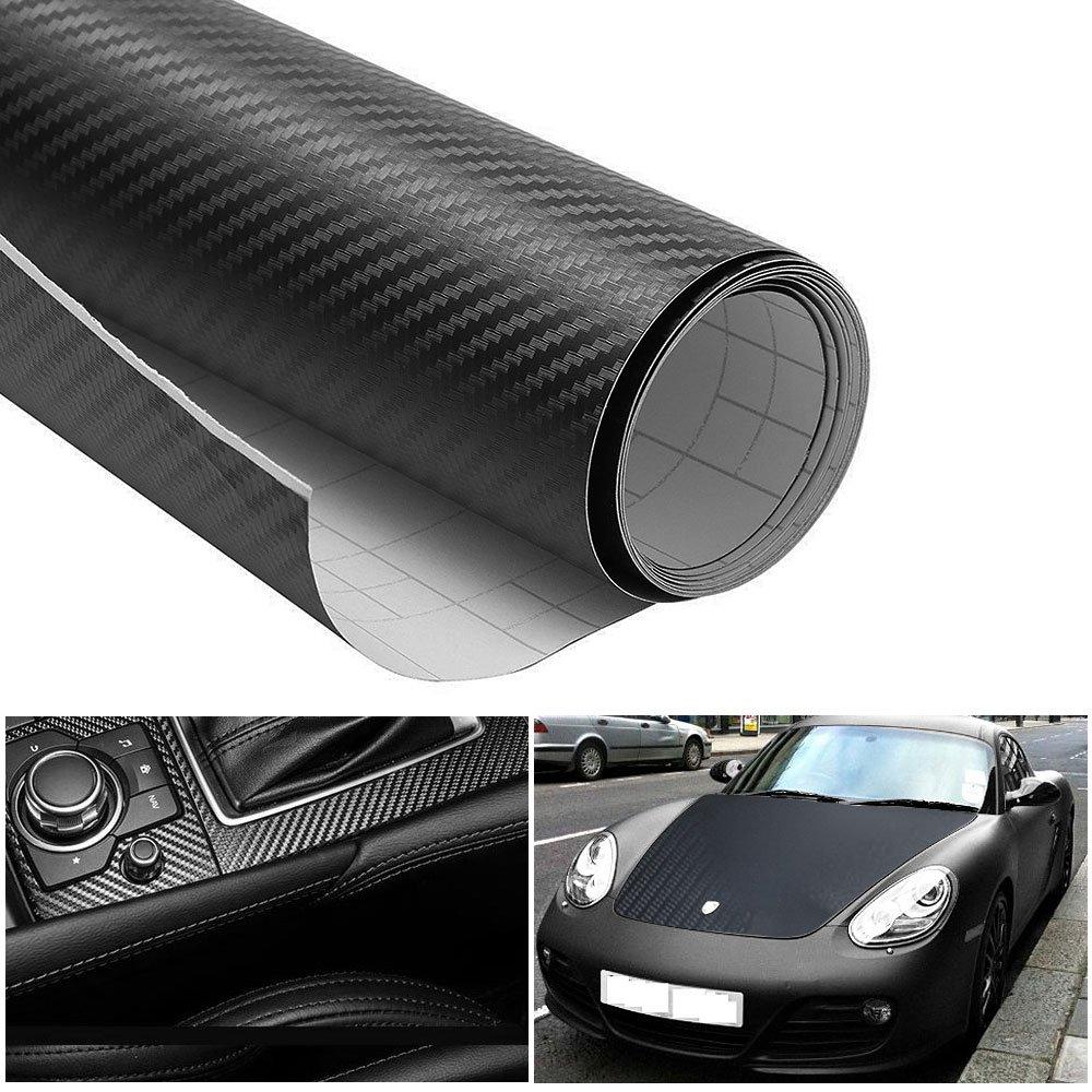 Noir ikalula 3D Film de Vinyle Fibre de Carbone Automatique Voiture DIY D/écoration Stickers 152*30cm Autocollant de Voiture